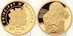 Рождественская монета Андоры «Матерь Божья с младенцем»