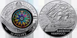 Монета «Америго Веспуччи» серии «Парусные корабли» от Беларуси