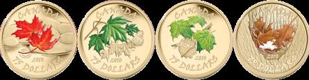 Красота клёна во все времена года на монетах Канады