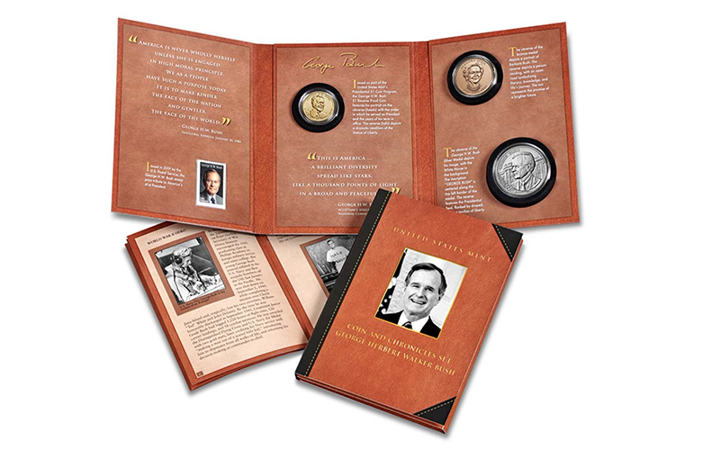 Набор монет, посвященный Джорджу Бушу-старшему